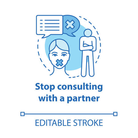 Stop consulting with partner concept icon. Distrust, resentment, indifference in relationship. Silent about problems idea thin line illustration. Vector isolated outline drawing. Editable stroke Illustration