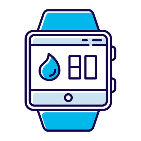 Water balance tracking smartwatch function color icon. Fitness wristband capability and wellness service. Hydration remindings and measurements. Water resistant device. Isolated vector illustration Çizim