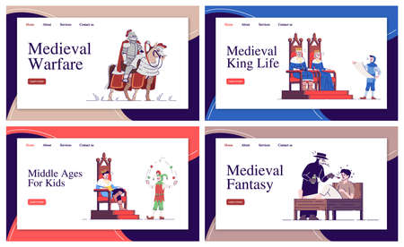 Medieval landing page vector template set. Middle Ages life website interface ideas with flat illustrations. Dark Age history homepage layout pack. Web banner, webpage cartoon concept