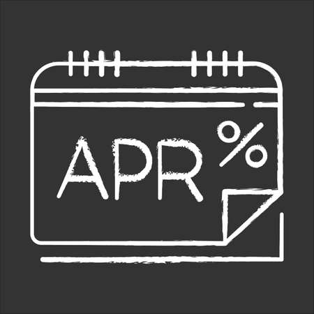 Annual percentage rate chalk icon. APR calculations. Financial report. Economy industry. Paying for credit, loan. Calendar to track income and expenses. Isolated vector chalkboard illustration Illustration