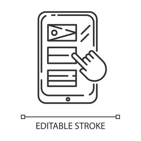 Language translation service linear icon. Online multilingual dictionary. Smartphone, tablet translator app. Thin line illustration. Contour symbol. Vector isolated outline drawing. Editable stroke