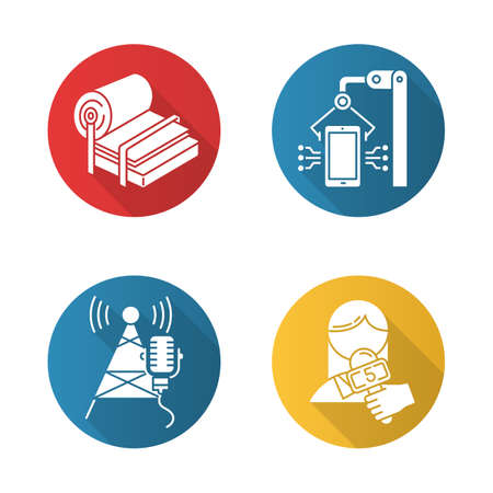 Industry types flat design long shadow glyph icons set. Pulp and paper production. Electronics facility. Broadcasting tower. News and media. Person with microphone. Vector silhouette illustration