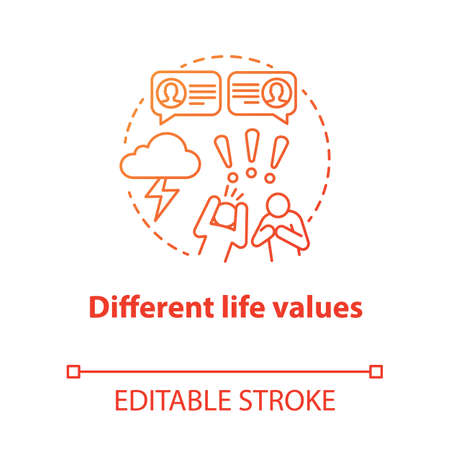 Different life values concept icon. Family quarrel. Disagreement. Inability to negotiate. Mutual accusations of partners idea thin line illustration. Vector isolated outline drawing. Editable stroke Illusztráció