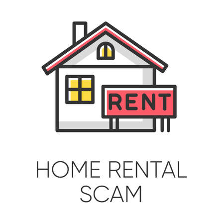 Home rental scam color icon. House, apartment for rent. Fake real estate agent. Online fraud. Upfront payment. Malicious practice. Fraudulent scheme. Isolated vector illustration