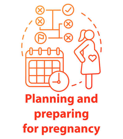 Planning and preparing for pregnancy red concept icon. Future mother idea thin line illustration. Calendar method, ovulation, maternity. Planned parentship. Vector isolated outline drawing