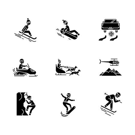 Extreme winter activity glyph icons set. Risky sport, adventure. Cold season outdoor leisure. Snowmobiling, ice climbing, sledding, snow tubing. Silhouette symbols. Vector isolated illustration