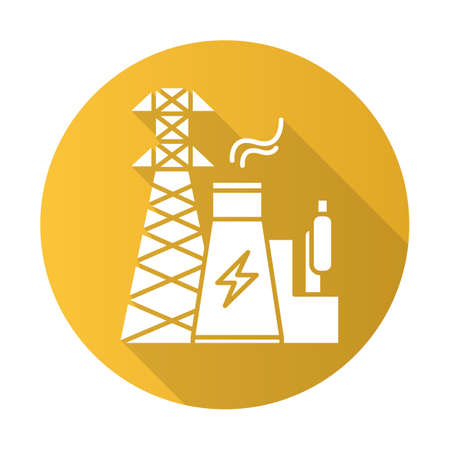 Energy industry yellow flat design long shadow glyph icon. Electricity generation and transmission. Electrical sector. Nuclear power plant and high voltage tower. Vector silhouette illustration
