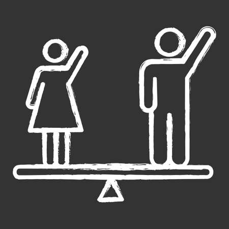 Gender equality chalk icon. Woman and man human right. Democracy, freedom. Female, male balancing on scale. Justice, equality, empowerment. Social unity. Isolated vector chalkboard illustration