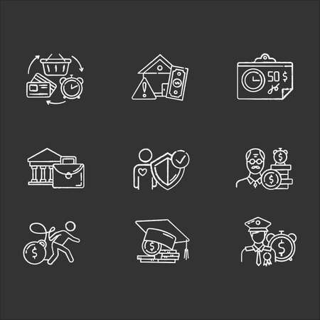 Credit chalk icons set. Borrowing from retirement. Student loan debt. Paying for university. Trading, retail. Revolving credit. Heavy credit card risk. Isolated vector chalkboard illustrations