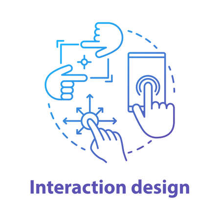 Icono del concepto de diseño de interacción. Ilustración de línea fina de idea de desarrollo de interfaz creativa de software de dispositivo móvil. Gráficos de la aplicación para una mejor experiencia de usuario. Dibujo de contorno aislado del vector Ilustración de vector