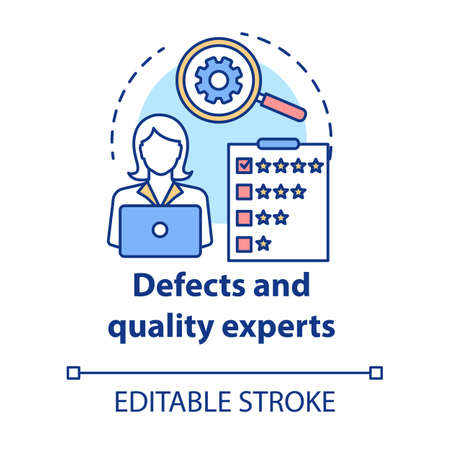 Defects and quality experts concept icon. Software development idea thin line illustration. Application programming. IT project management. Vector isolated outline drawing. Editable stroke
