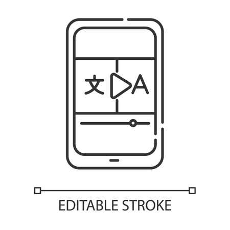 Video translation linear icon. Online dictionary app. Translation services. Visual media interpretation. Thin line illustration. Contour symbol. Vector isolated outline drawing. Editable stroke Illustration