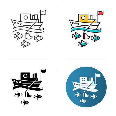 Fishing industry icon. blue color icon. Fishery sector. Commercial fishing activity. Trawler in sea. Business in ocean. Flat design, linear and color styles. Isolated vector illustrations Illusztráció