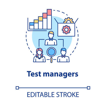 Test managers concept icon. Software development idea thin line illustration. App programming. System functionality check. IT project management. Vector isolated outline drawing. Editable stroke