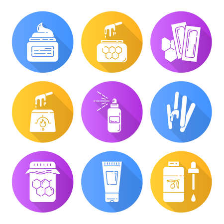 Waxing equipment flat design long shadow glyph icons set. Hot honey wax strips with spatula. Hair removal tools. Lotion, spray, oil for depilation. Beauty cosmetics. Vector silhouette illustration Standard-Bild - 133938074