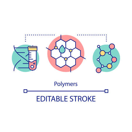 Polymers concept icon. Biomimetic materials. Biopolymers. Polymeric biomolecules. Molecular structure. Bioengineering idea thin line illustration. Vector isolated outline drawing. Editable stroke Illustration