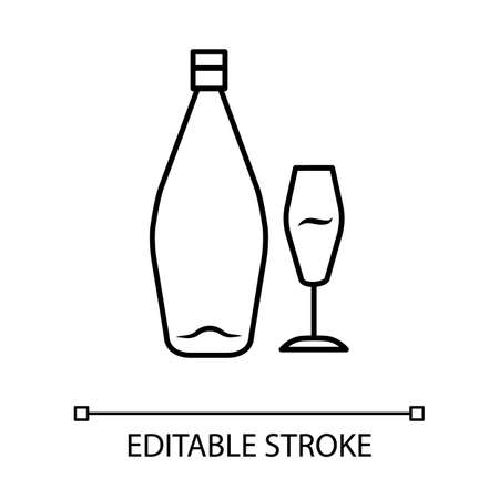 Wine linear icon. Alcohol bar. Bottle, wineglass. Alcoholic beverage. Glassware for dessert standard wine. Thin line illustration. Contour symbol. Vector isolated outline drawing. Editable stroke