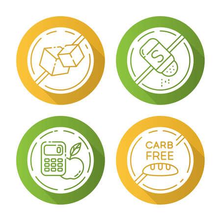 Conjunto de iconos de glifo de larga sombra de diseño plano de ingrediente libre de producto. Sin azúcar, sal, calorías, carbohidratos. Alimentos orgánicos, alimentación saludable. Dietético sin alérgenos. Comidas balanceadas. Ilustración de silueta de vector Ilustración de vector