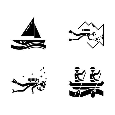 Watersports glyph icons set. Cave diving, sailing and rafting. Extreme kinds of sport. Summer vacation, beach activities. Diving with scuba gear.Silhouette symbols. Vector isolated illustration 向量圖像