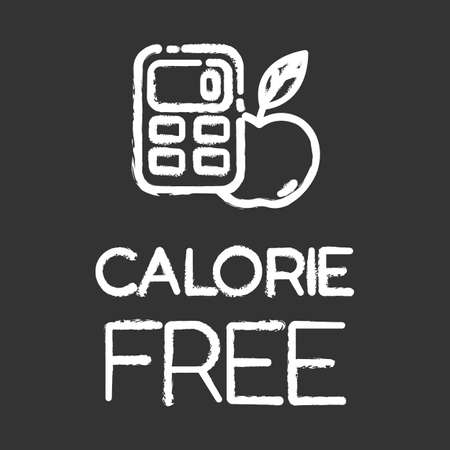 Calorie free chalk icon. Low calories snacks for weight loss. Product free ingredient. Fresh food. Nutritious fruits. Healthy eating, dietary. Balanced meals. Isolated vector chalkboard illustration Ilustrace