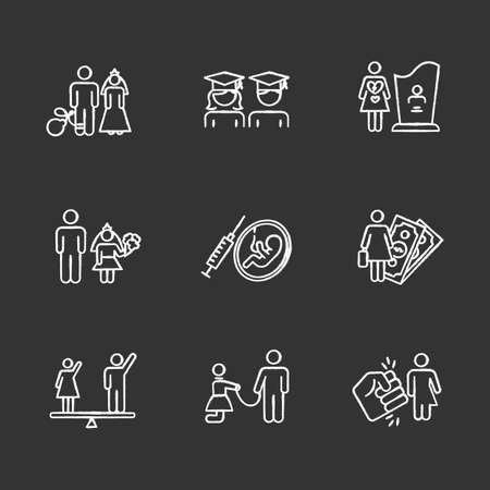 Gender equality chalk icons set. Forced marriage. Education equality. Maternity mortality. Child marriage. Female economic activity. Violance against trans. Isolated vector chalkboard illustrations