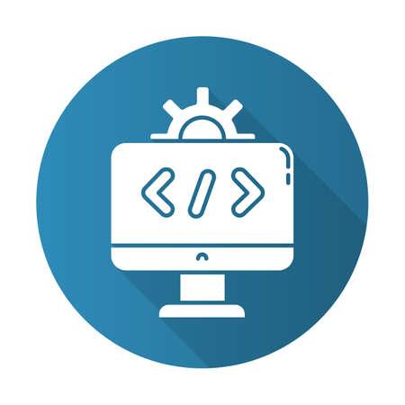 Software-Industrie blaues flaches Design lange Schatten-Glyphe-Symbol. Sektor der Informationstechnologie. Installation und Konfiguration von Anwendungen. Informationstechnologie. Vektor-Silhouette-Abbildung