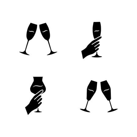 Wine service glyph icons set. Clinking champagne glasses. Hands holding alcohol drinks. Celebration. Wedding. Tasting, degustation. Cheers. Toast. Silhouette symbols. Vector isolated illustration