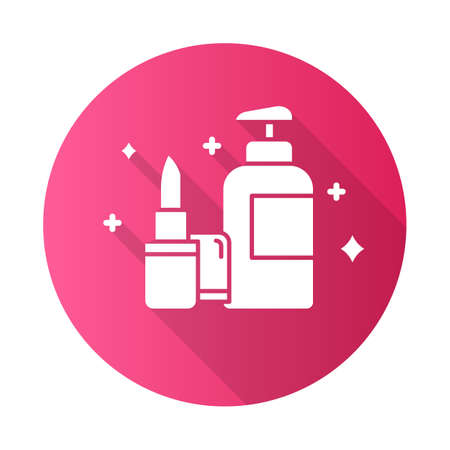 Beauty and personal care pink flat design long shadow glyph icon. Makeup products. Decorative cosmetics concept. E commerce department, online shopping categories. Vector silhouette illustration Illusztráció