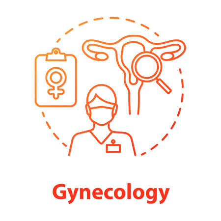 Gynecology red gradient concept icon. Women healthcare idea thin line illustration. Gynaecologist, doctor. Female reproductive system, fertility, anatomy. Vector isolated outline drawing