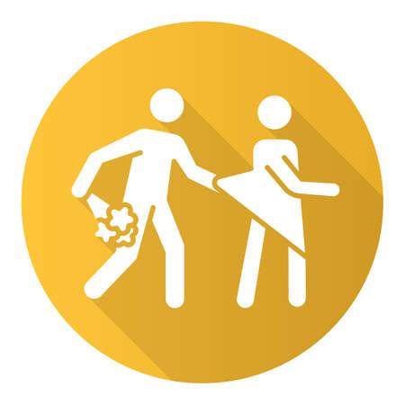 Fecha de violación icono de glifo de larga sombra de diseño plano amarillo. Abuso de mujeres. Acoso sexual a mujeres, niñas. Víctima de agresión.