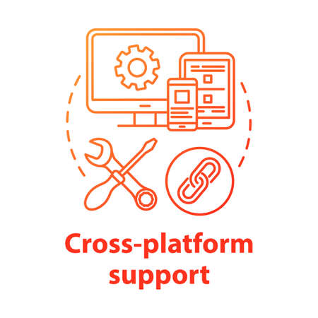 Cross-platform support concept icon. Software development idea thin line illustration. Mobile device programming. Responsive application management. Vector isolated outline drawing