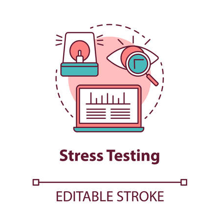 Stress testing concept icon. Software development stage idea thin line illustration. Application stability and reliability verification. IT project. Vector isolated outline drawing. Editable stroke
