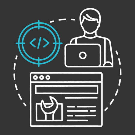 Technical tester chalk concept icon. Software development idea thin line illustration. App programming. System functions analysis. IT project managment idea. Vector isolated chalkboard illustration