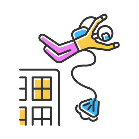 Base jumping color icon. Parachuting. Skydiver, parachutist jumping from skyscraper, high rise building. Extreme sport freefall stunt. Adrenaline recreation. Isolated vector illustration