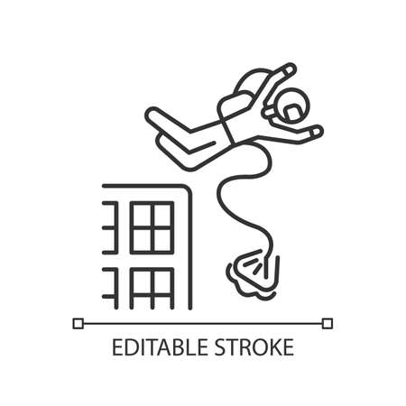 Base jumping linear icon. Parachuting. Skydiver, parachutist jumping from skyscraper, high rise building. Thin line illustration. Contour symbol. Vector isolated outline drawing. Editable stroke Illustration