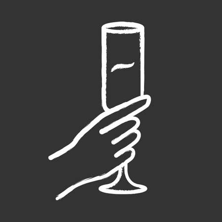 Hand holding champagne glass chalk icon. Champagne flute. Glassful of alcohol beverage. Wine service. Celebration. Wedding. Tasting, degustation. Toast. Cheers. Isolated vector chalkboard illustration