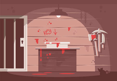 Horror themed escape room flat vector illustration. Prison cell and blood inscription on wall. Searching solution, crime investigation, solving mysteries. Quest room with hint. Modern entertainment