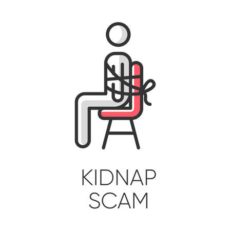 Kidnap scam color icon. Virtual kidnapping. Ransom money request. Blackmailing. Telephone extortion. Family emergency scam. Malicious practice. Fraudulent scheme. Isolated vector illustration