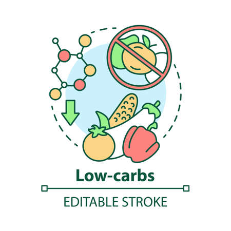 Low carbs concept icon. Keto diet idea thin line illustration. Healthy meal. Ketogenic food. Carbohydrate nutrition. Fresh vegetables. Vector isolated outline drawing. Editable stroke