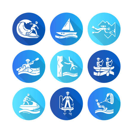 Watersports flat design long shadow glyph icons set. Cave diving, surfing, flyboarding and sailing. Cliff diving, kayaking and windsurfing. Extreme kinds of sports.Vector silhouette illustration