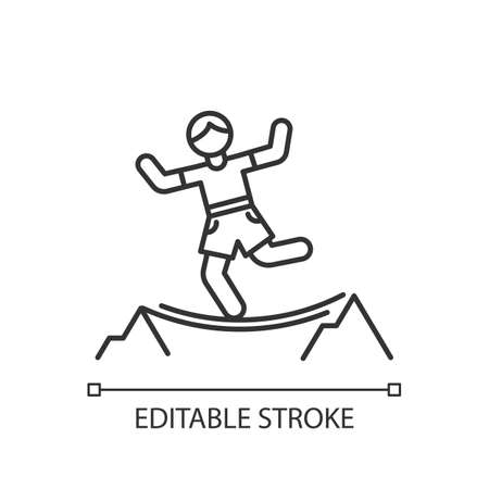 Highlining linear icon. Slacklining. Walking and balancing on tightrope. Slackliner in mountains. Extreme sport stunt. Walker on rope. Contour symbol. Vector isolated outline drawing. Editable stroke