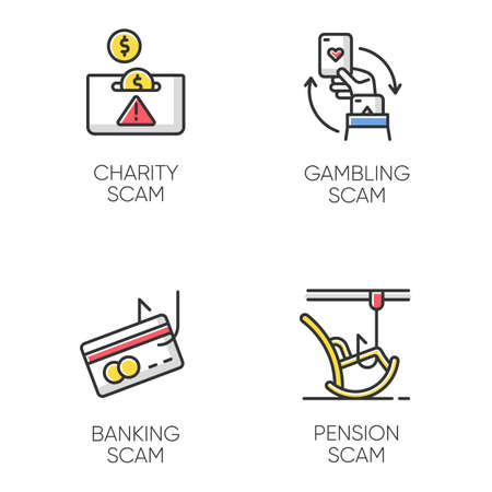 Scam types color icons set. Charity, pension fraudulent scheme. Gambling, banking trick. Cybercrime. Financial scamming. Illegal money gain. Isolated vector illustrations