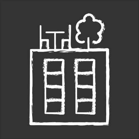 Rooftop deck chalk icon. Panoramic terrace. Luxurious penthouse balcony. Garden space on roof. Sky park lounge zone. Outdoor area. Apartment amenities. Isolated vector chalkboard illustration