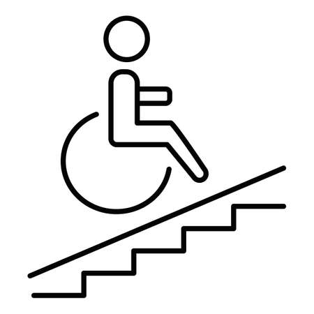 Wheelchair accesslinear icon. Accessible to handicap people. Facilities for disabled persons. Wheelchair ramp. Thin line illustration. Contour symbol. Vector isolated outline drawing. Editable stroke