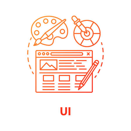UI concept icon. Software creative interface development idea thin line illustration. Designing mobile app graphics for user experience. Website builder. Vector isolated outline drawing Reklamní fotografie - 134927664
