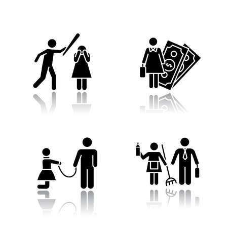 Conjunto de iconos de glifo negro de sombra de igualdad de género. Actividad económica femenina. Violencia contra la mujer. Esclavitud sexual. Bullying, acoso. Estereotipos de genero. Ilustraciones vectoriales aisladas