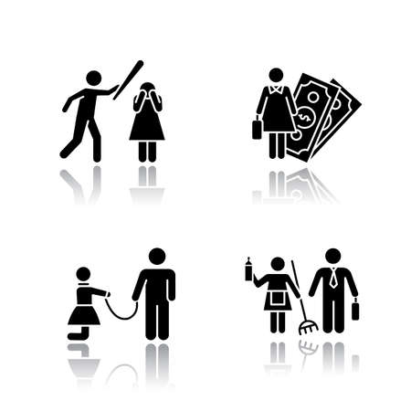 Gender equality drop shadow black glyph icons set. Female economic activity. Violence against woman. Sexual slavery. Bullying, harassment. Gender stereotypes. Isolated vector illustrations 向量圖像
