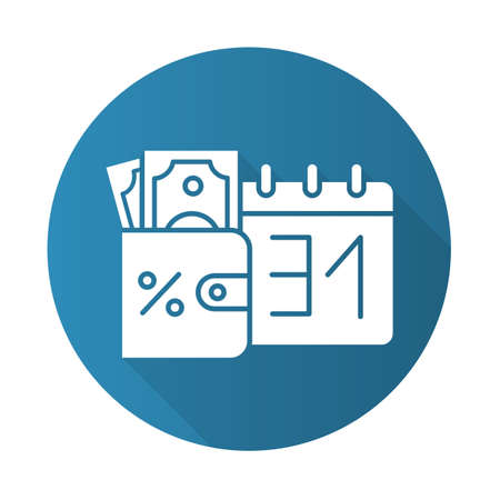 Credit money blue flat design long shadow glyph icon. Payday loan. Currency in wallet. Paying for loan. Tracking increseasing percentage rate income. Budget managment. Vector silhouette illustration