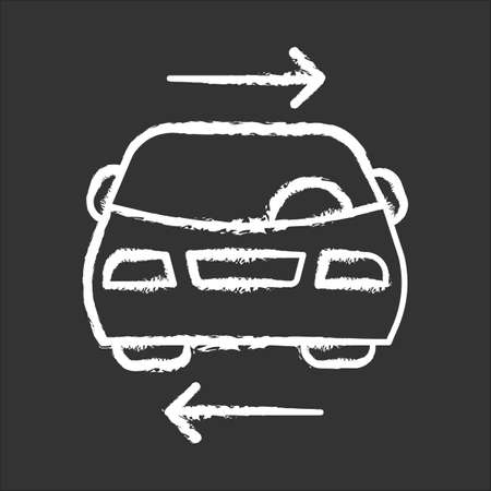 Shared car service chalk icon. Vehicle for rent. Carpooling. Ride sharing. Carshare. Lift sharing. Shared mobility. Road transport. Driver work. Parking. Isolated vector chalkboard illustration