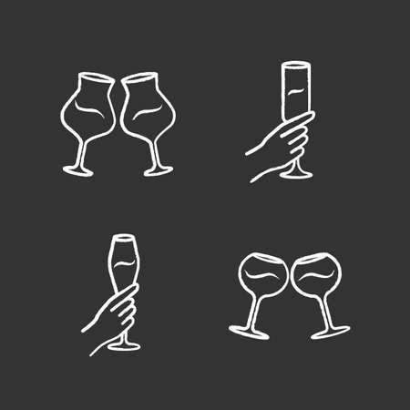 Wine service chalk icons set. Clinking wine glasses. Hands holding alcohol beverages. Celebration, party. Wedding. Glassware, winery. Cheers. Isolated vector chalkboard illustrations